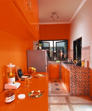 beautiful red orange kitchen design with azure blue and on inspiration