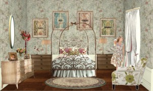 Ronnie Uncles Cutteridge goes all out with lush patterns and an incredible vintage bed.